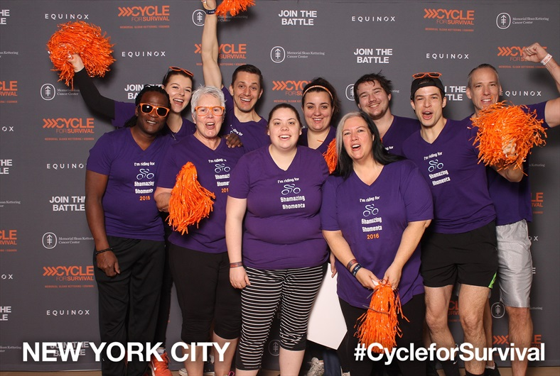 Patrick Shepherd and his team, Shamazing Shomenta, at the MSK Cycle for Survival in NYC this March 2018