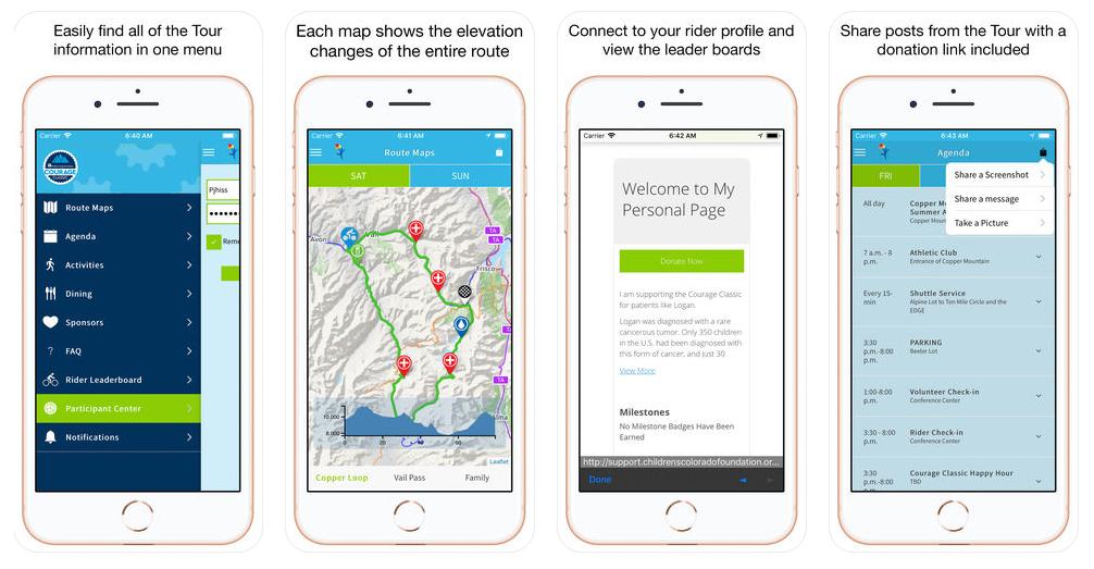 Children's Hospital Colorado Courage Classic Mobile App Screenshots