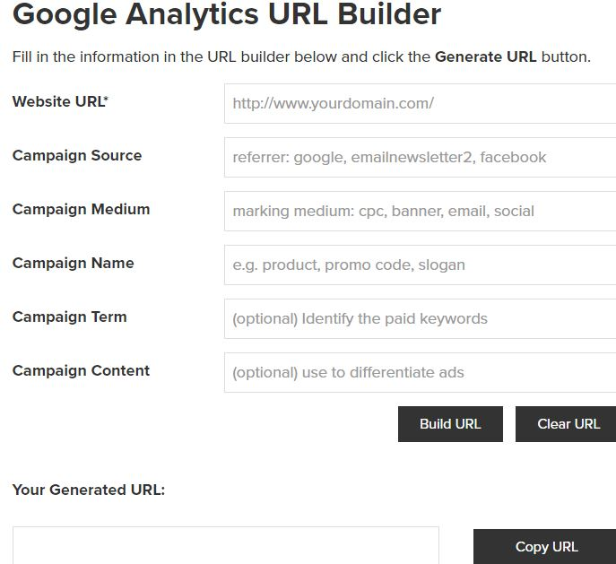 Google Analytics - URL Builder